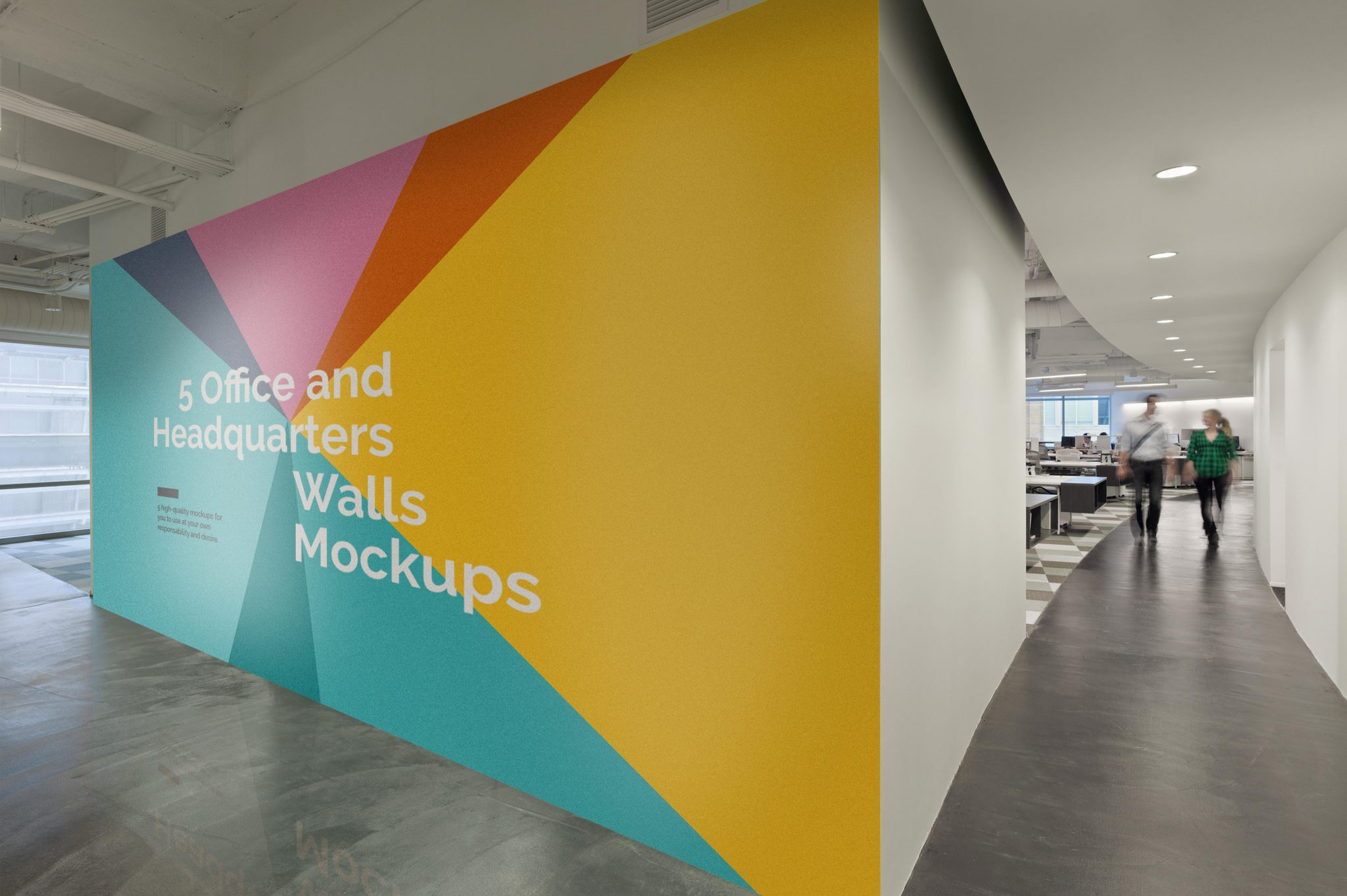 5 Office Headquarters Walls Mockups Mockupslib