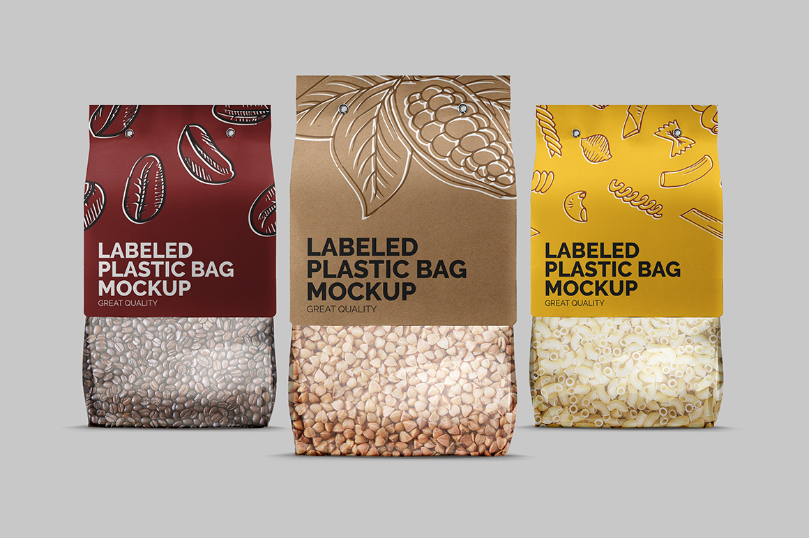 Plastic Bag With Carton Label Mockup Mockupslib