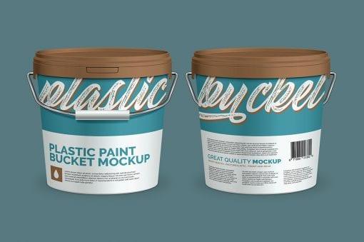 Plastic Paint Bucket Mockup