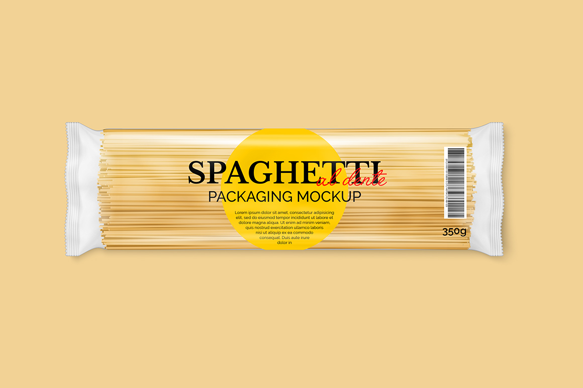 Spaghetti Pasta Packaging Mockup Mockupslib
